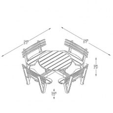 Forest Circular Picnic Table with Seat Backs - 8 Seater - dimensions