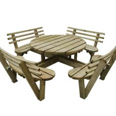 Forest Circular Picnic Table with Seat Backs - 8 Seater - isolated view