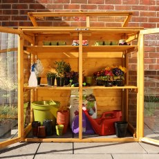 4 x 2 Mercia Mini Greenhouse - front on view, doors open