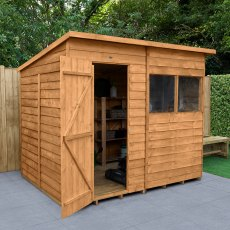 8 x 6 (2.52m x 2.04m) Forest Overlap Pent Shed