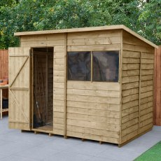 8 x 6 (2.52m x 2.04m) Forest Overlap Pent Shed - Pressure Treated
