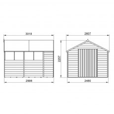 10x8 Forest Overlap Apex Shed - Pressure Treated - external dimensions