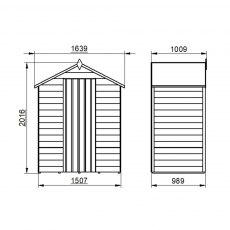 5 x 3 Forest Overlap Shed - Windowless - external dimensions