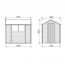 7x5 Forest Overlap Apex Garden Shed - external dimensions