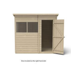 7x5 Forest Overlap Pent Shed - Pressure Treated - isolated with door located on the right hand side
