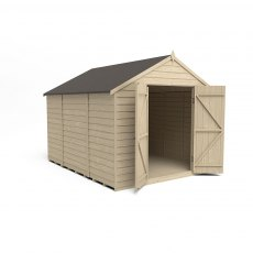 10 x 8 Forest Overlap Apex Shed - No Windows - Pressure Treated - isolated with doors open