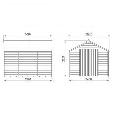 10 x 8 Forest Overlap Apex Shed - No Windows - Pressure Treated - external dimensions
