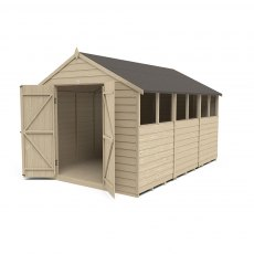 12 x 8 Forest Overlap Apex Shed - Pressure Treated - isolated with doors open