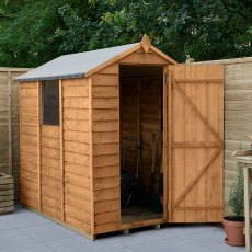 6 x 4 Forest Overlap Apex Garden Shed - angled shed with door open