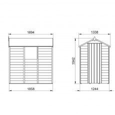 6 x 4 Forest Overlap Apex Garden Shed - window and door configurations