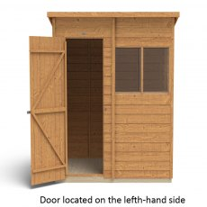 6 x 4 Forest Overlap Pent Garden Shed -  isolated with door located on the left hand side