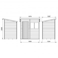 6 x 4 Forest Overlap Pent Garden Shed - external dimensions