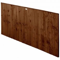 3ft High Forest Featheredge Fence Panel - Brown Pressure Treated - Isolated Angled View