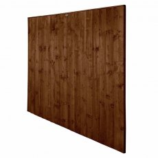 6ft High Forest Featheredge Fence Panel - Brown Pressure Treated - Isolated Angled View