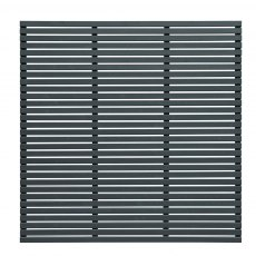 6ft High (1800mm) Forest Slatted Fence Panel - Anthracite Grey - Isolated front elevation