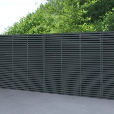 6ft High Forest Contemporary Double-Sided Slatted Fence Panel - Anthracite Grey - insitu