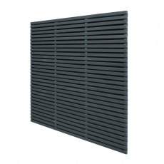 6ft High Forest Contemporary Double-Sided Slatted Fence Panel - Anthracite Grey - isolated angled vi
