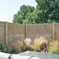 5ft High (1500mm) Forest Contemporary Double-Sided Slatted Fence Panel - Pressure Treated