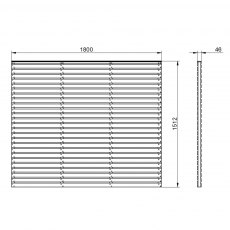 5ft High Forest Double Slatted Fence Panel - Pressure Treated - dimensions