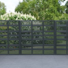 6ft High (1800mm) Forest Contemporary Mixed Slatted Fence Panel - Anthracite Grey
