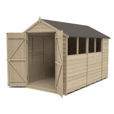 10 x 6 Forest Overlap Shed - Pressure Treated - isolated with doors open
