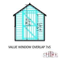 7 x 5 (2.05m x 1.62m) Shire Value Overlap Shed - internal dimensions