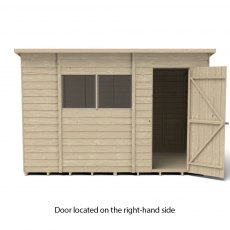 10 x 6 Forest Overlap Pent Shed - Pressure Treated - isolated with door located on the right hand si
