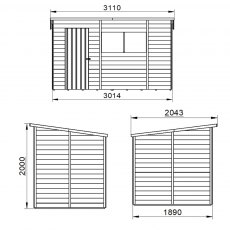 10 x 6 Forest Overlap Pent Shed - Pressure Treated - external dimensions