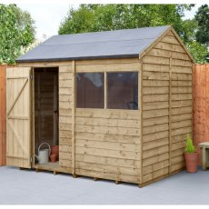 8 x 6 (2.42m x 1.99m) Forest Overlap Reverse Apex Shed -  Pressure Treated