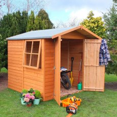 7 x 7 Shire Overlap Shed - with window on the left hand side and double doors open