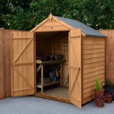 4 x 6 (1.25m x 1.99m) Forest Overlap Shed with Double Doors - Windowless
