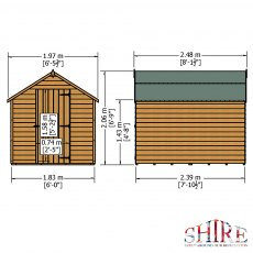 8 x 6 Shire Value Overlap Shed - Pressure Treated - Dimensions