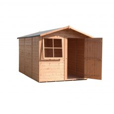 10x7 Shire Tongue and Groove Shed - isolated and angled with door open