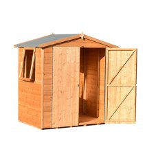 4x6 Shire Lewis Professional Shed - angled elevation with one door open