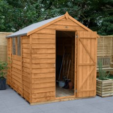 8x6 Forest Overlap Shed - insitu with door open