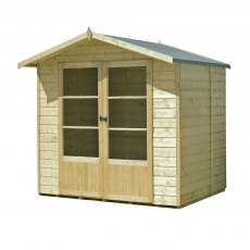 7 x 5 Shire Mumley Summerhouse - Pressure Treated - natural with door closed and angled