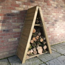 3 x 2 Shire Overlap Small Triangular Log Store - Pressure Treated - side angle with logs