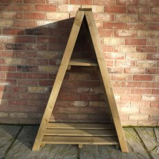 3 x 2 Shire Overlap Small Triangular Log Store - Pressure Treated - front on without logs
