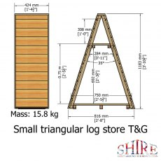 3 x 2 Shire T&G Small Triangular Log Store - Pressure Treated - dimensions