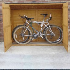 3 x 6 Shire Tongue and Groove Pent Bike Store - front elevation with doors open