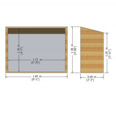 3 x 6 Shire Tongue and Groove Pent Bike Store - dimensions