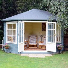 10G x 14 (2.99m x 4.19m) Shire Ardcastle Double Door Log Cabin 28mm logs