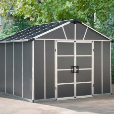 11 x 9 (3.32m x 2.71m) Palram Yukon Plastic Apex Shed with WPC Floor - Dark Grey