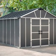 11 x 13 (3.32m x 3.93m) Palram Yukon Plastic Apex Shed with WPC Floor - Dark Grey