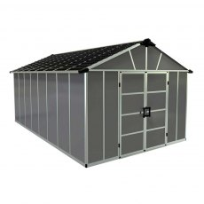11 x 17 (3.32m x 5.19m) Palram Yukon Plastic Apex Shed with WPC Floor - Dark Grey