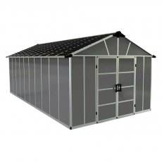 11 x 21 Palram Yukon Plastic Apex Shed - Dark Grey - Isolated