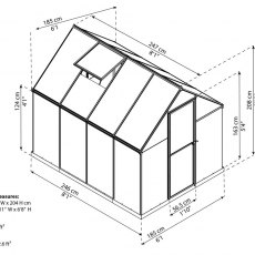 6 x 8 Palram Mythos Greenhouse in Silver - dimensions