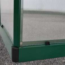 6 x 4 Palram Mythos Greenhouse in Green - galvanised steel base aids stability