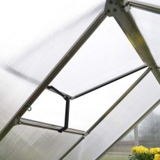 6 x 8 Palram Mythos Greenhouse in Green - single opening roof vent (shown on silver model)