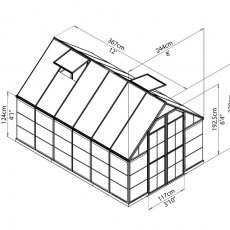 8 x 12 Palram Balance Greenhouse in Silver - dimensions